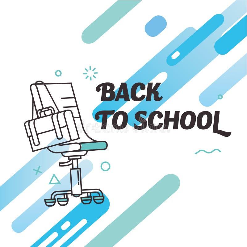 Stolskrivbordlinje tunn baksida till skoladesignen stock illustrationer
