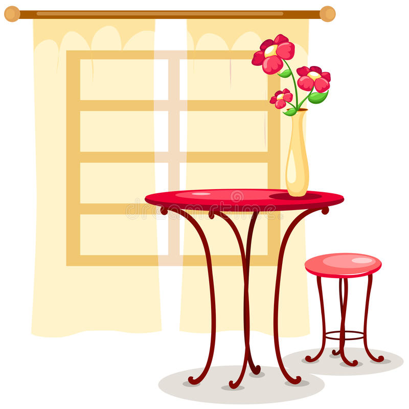 stolstabell royaltyfri illustrationer