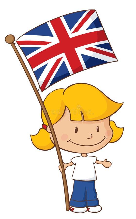 Stolt att vara brittisk flicka stock illustrationer