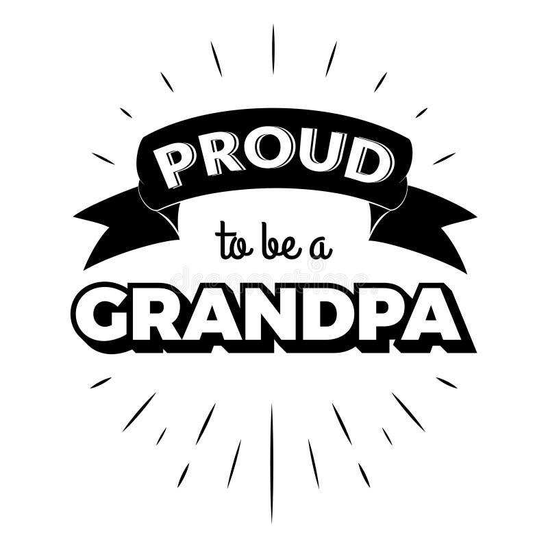 Stolt att vara etiketter för en inbjudan för morfartappningbokstäver med strålar stock illustrationer