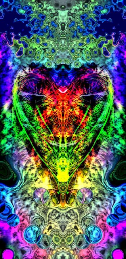 Stolt hjärta på psykedelisk plats royaltyfri illustrationer