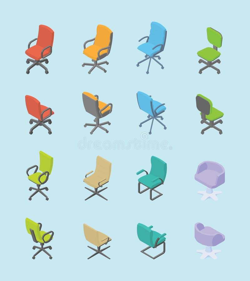Stoluppsättningsamling för kontor med plan olik form för isometrisk modern stil och färg - vektor stock illustrationer