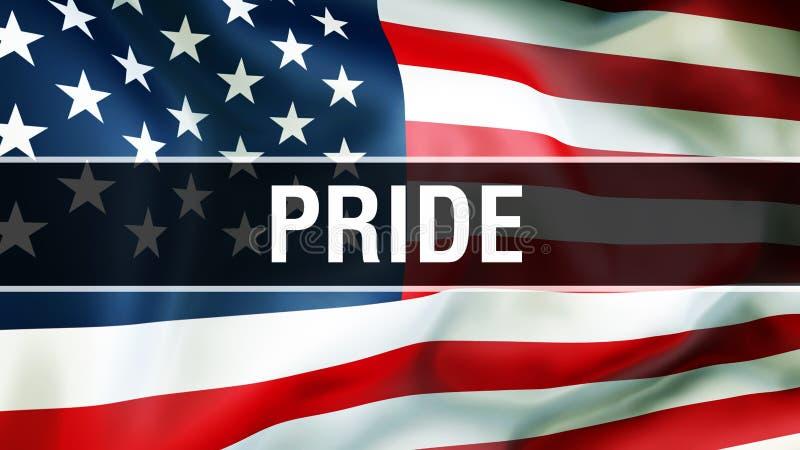 Stolz auf einem USA-Flaggenhintergrund, Wiedergabe 3D Staaten von Amerika fahnenschwenkend im Wind Stolze wellenartig bewegende a lizenzfreie abbildung