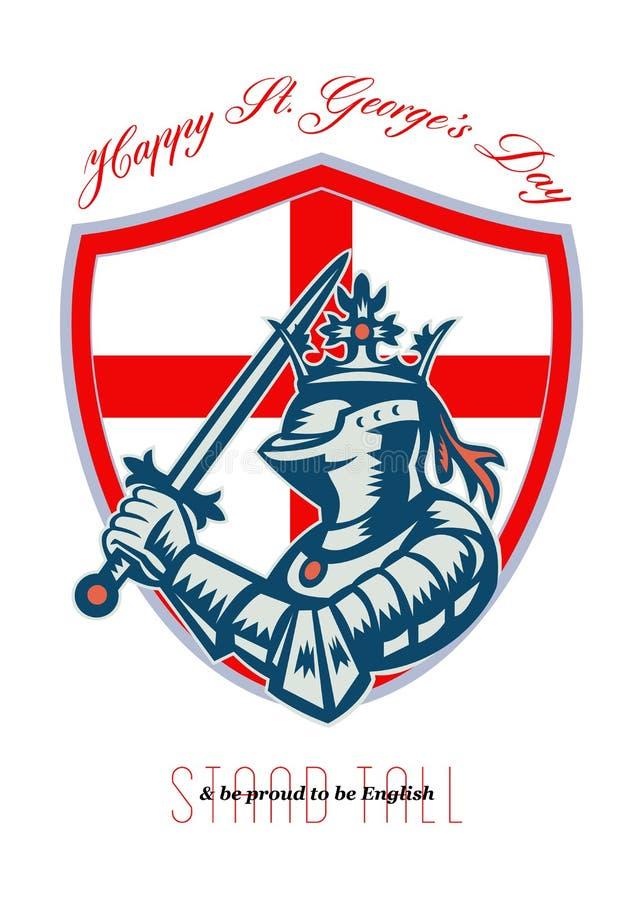 Stolz, englisches glückliches St. George Day Shield Card zu sein stock abbildung