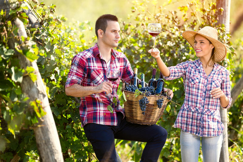Stolz Paare, die im Wein genießen lizenzfreie stockfotos