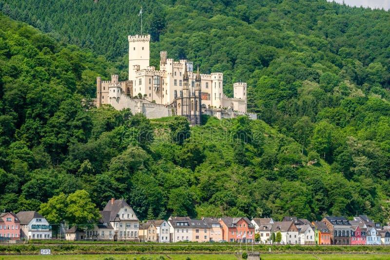 Stolzenfels kasztel przy Rhine doliną blisko Koblenz, Niemcy obraz stock