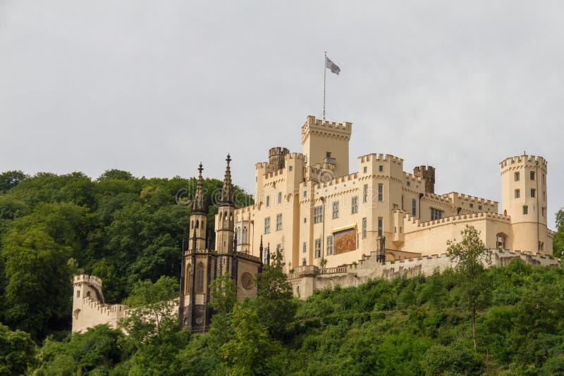 Stolzenfels slott nära Koblenz, Rhendal, Tyskland royaltyfri foto