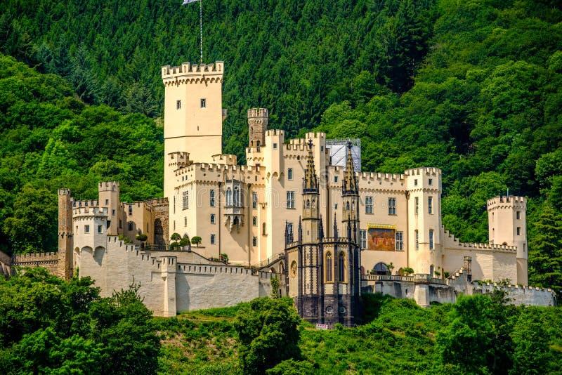 Stolzenfels slott på Rhendalen nära Koblenz, Tyskland arkivfoton