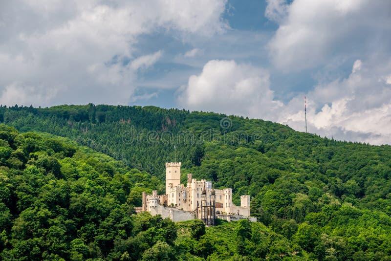 Stolzenfels slott på Rhendalen nära Koblenz, Tyskland royaltyfri fotografi