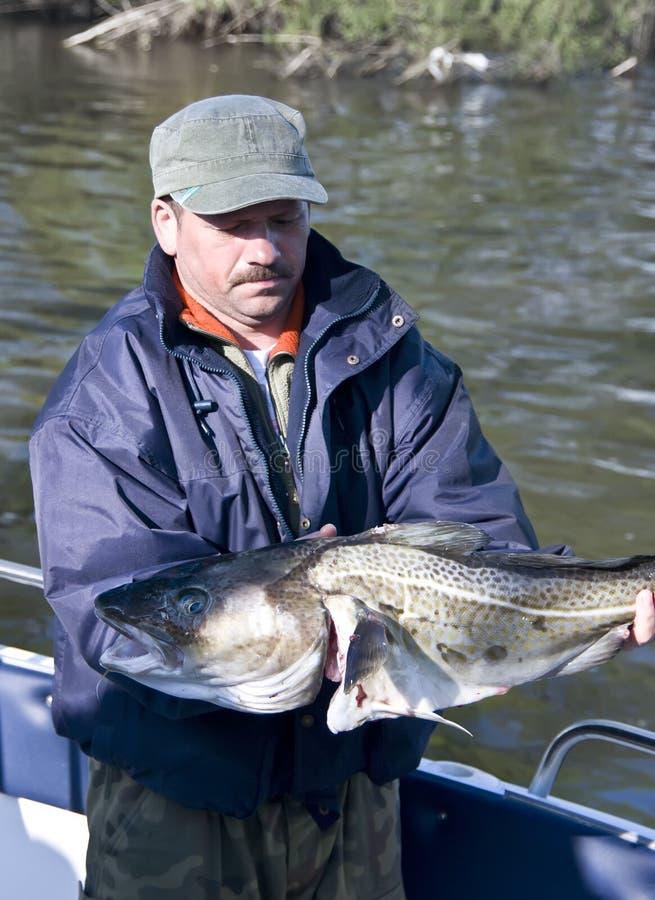 Stolzer Fischer mit großem Kabeljau stockfoto