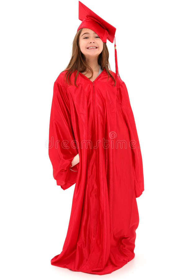 Stolzes Schule-Mädchen-Absolvent-Kind lizenzfreies stockfoto