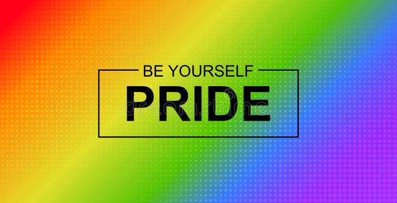 Stolzfahne Vektorhintergrund mit LGBT-Gemeinschaftsregenbogenflagge lizenzfreie abbildung