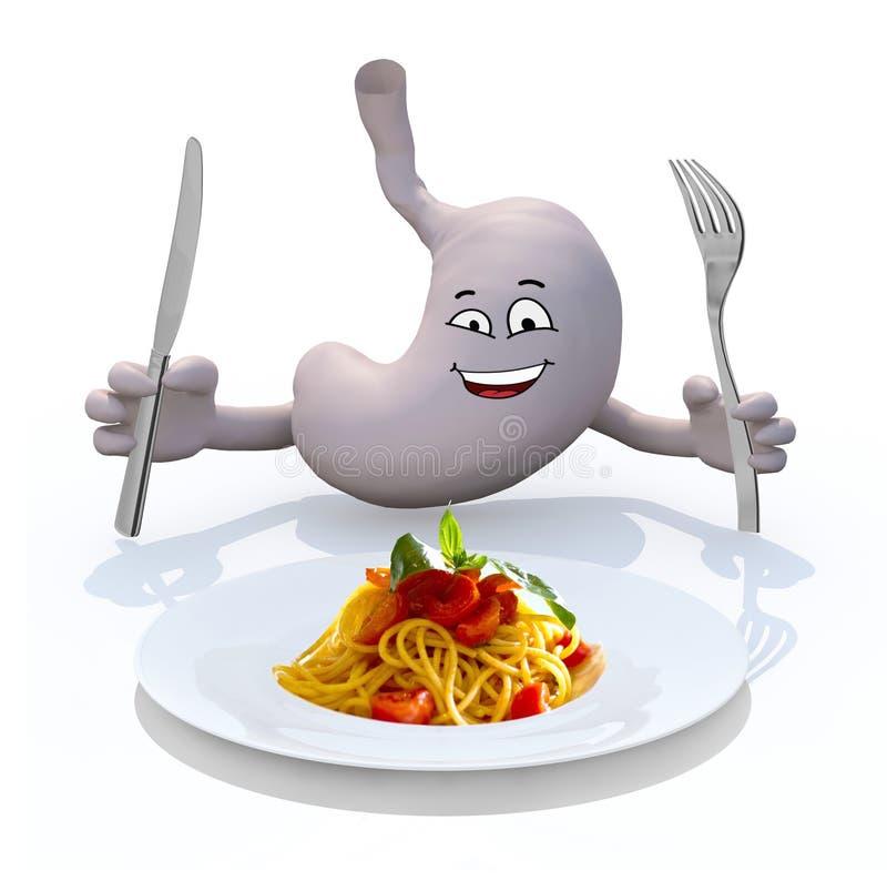 Stomac z rękami i cutlery na ręce w przodzie na spaghetti talerzu royalty ilustracja