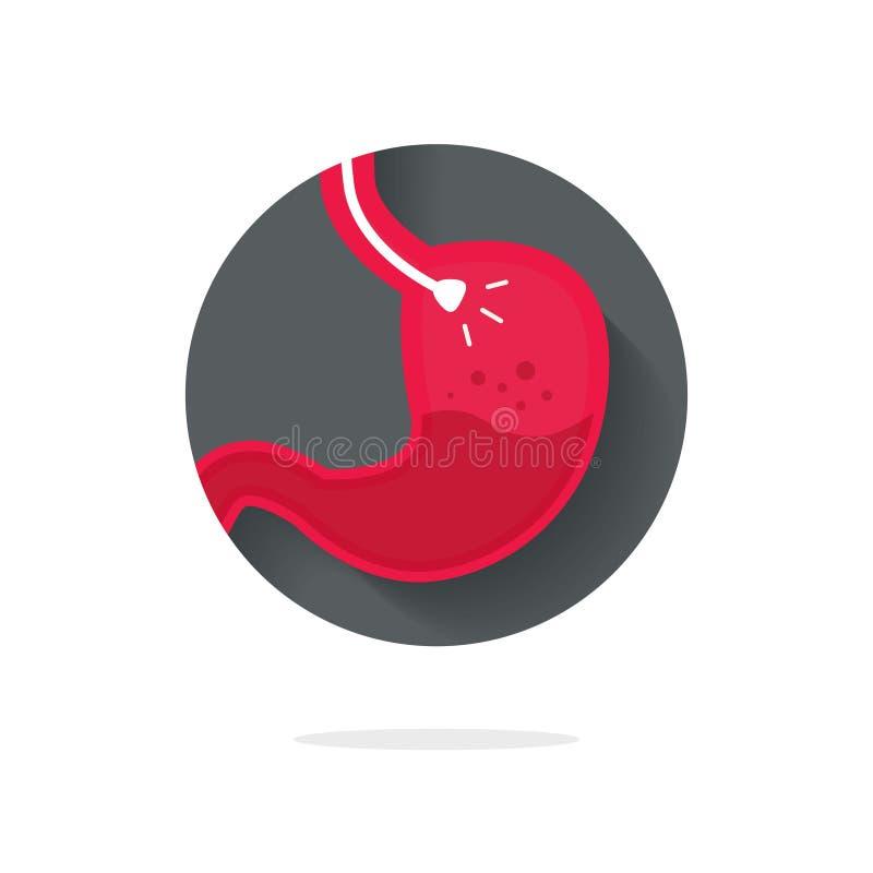 Stomach значок вектора эндоскопии, плоский endoscope в животе через esophagus, идею символа логотипа gastroscopy иллюстрация штока