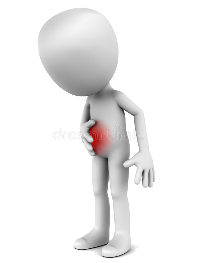 Stomach ache. 3d man bending over in stomach ache, stomach in pain with red spot, showing the area of pain vector illustration