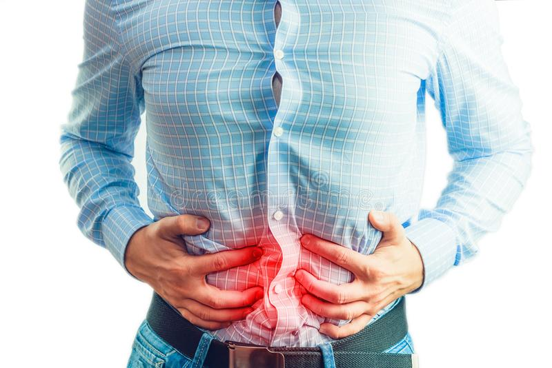 Stomach ache, medical and healthcare concept. stock images