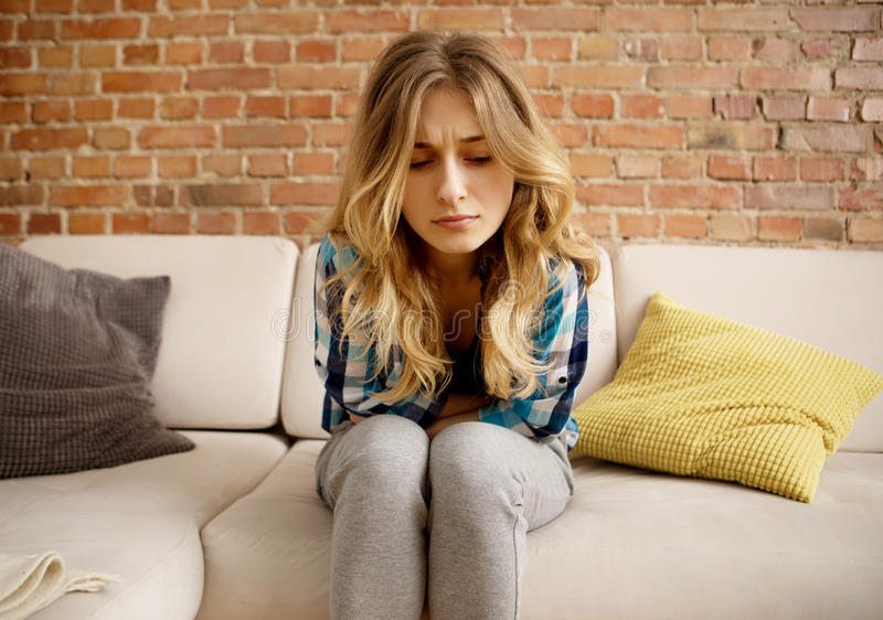 Stomach ache, women problems. royalty free stock images