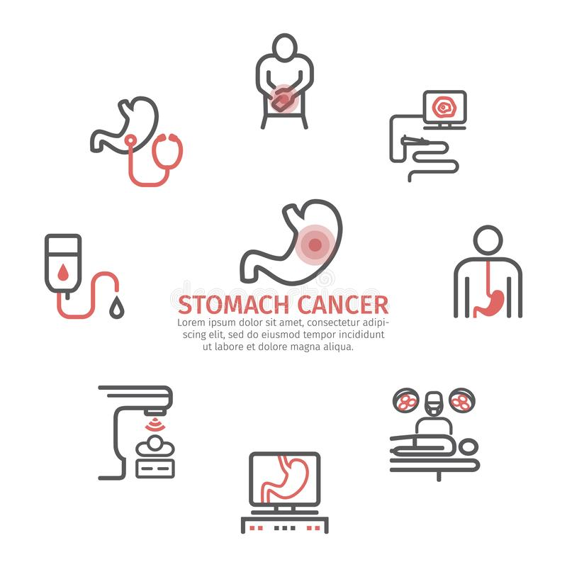 Stomach cancer banner. Symptoms and diagnosis. Medical infographics. Stomach cancer line icons. Symptoms and diagnosis. Medical infographics. Medical vector vector illustration
