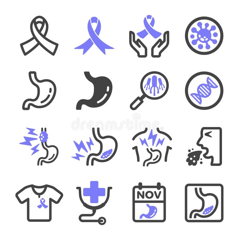 Stomach cancer icon. Stomach cancer,esophageal cancer icon set vector and illustration stock illustration
