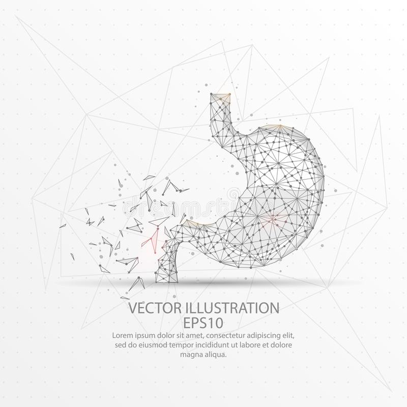 Stomach form polygonal low poly wire frame on black background. vector illustration