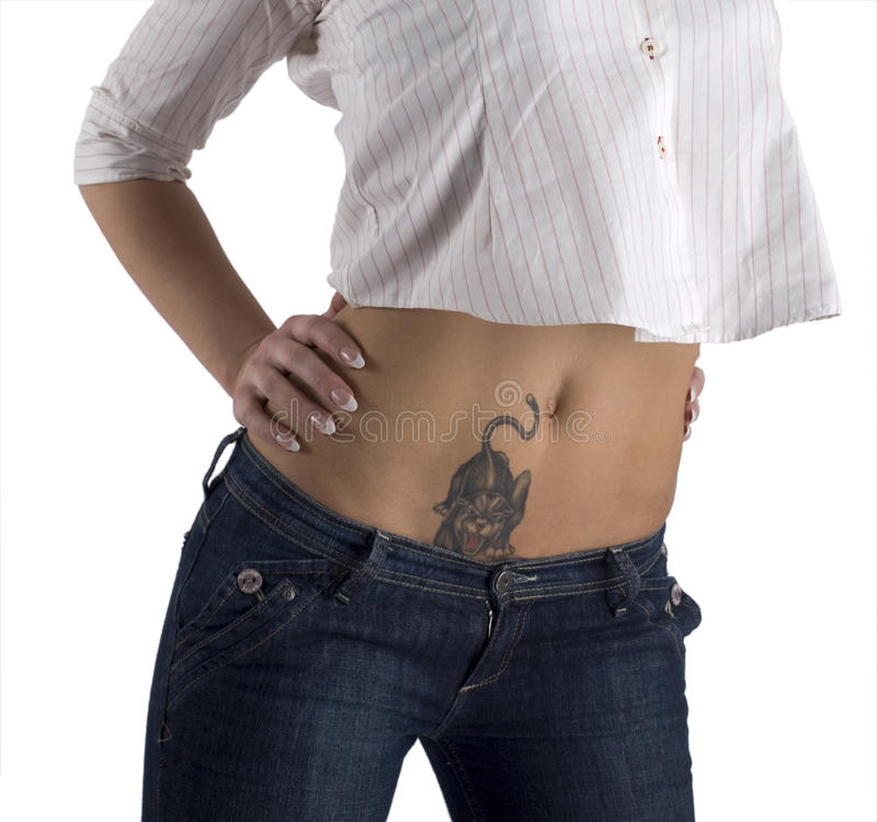 Stomach of the young girl royalty free stock photo