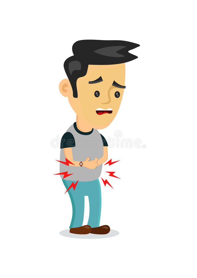 Stomachache, food poisoning, stomach problems.vector flat cartoon concept illustration of men character food poisoning or. Digestion.nausea, diarrhea, abdominal stock illustration