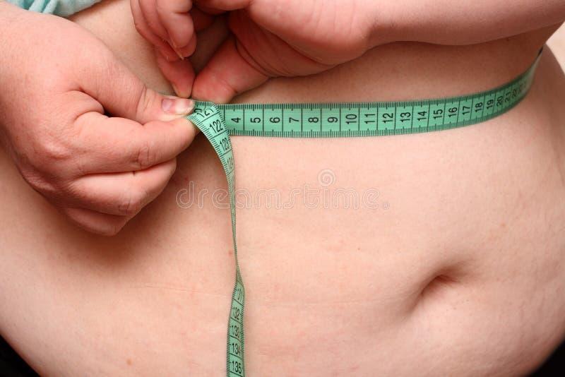 Stomaco di peso eccessivo delle donne fotografia stock libera da diritti