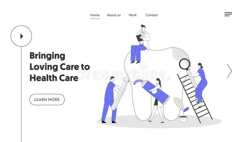 Stomatologia i stomatologia Strona docelowa witryny internetowej Dentyści oczyszczający, leczący niezdrową płytkę zębową i dziurę ilustracji