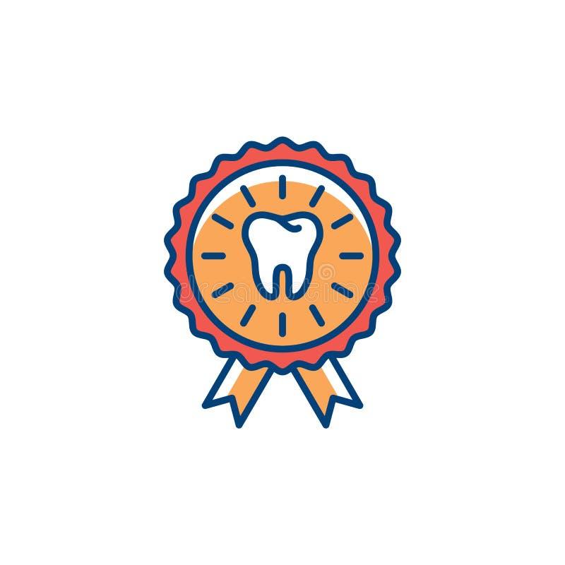 Stomatologiczna świadectwo ikona Stomatologiczna opieka, nagrody ikona, Kolorowy cienki kreskowej sztuki symbol, Wektorowa płaska royalty ilustracja