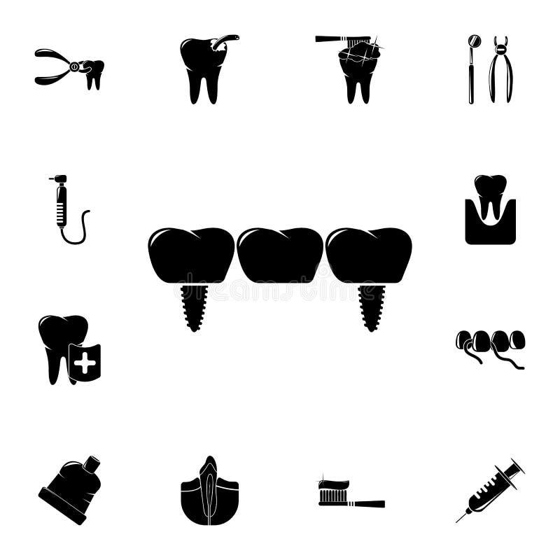 stomatologiczna bridżowa ikona Szczegółowy set Stomatologiczne ikony Premii ilości graficznego projekta znak Jeden inkasowe ikony ilustracji