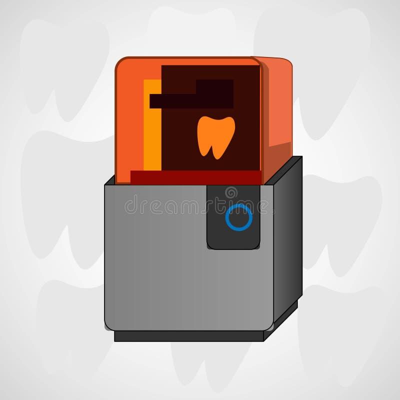 Stomatologiczna 3d drukarka w nowożytnym stylu Dentystyka wektoru ikona elementu wektor graficzny ilustracyjny bezszwowy ilustracja wektor