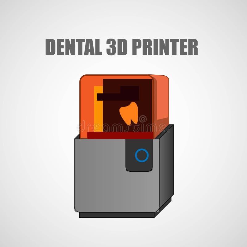 Stomatologiczna 3d drukarka w nowożytnym stylu Dentystyka wektoru ikona elementu wektor graficzny ilustracyjny bezszwowy royalty ilustracja