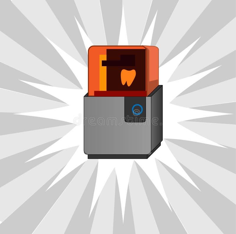 Stomatologiczna 3d drukarka w nowożytnym stylu Dentystyka wektoru ikona elementu wektor graficzny ilustracyjny bezszwowy ilustracji