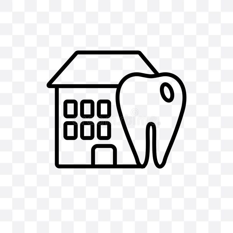 Stomatologiczna Domowa wektorowa liniowa ikona odizolowywająca na przejrzystym tle, Stomatologiczny Domowy przezroczystości pojęc royalty ilustracja
