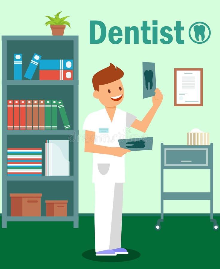 Stomatologiczna klinika, dentystyka Plakatowy Wektorowy szablon ilustracja wektor