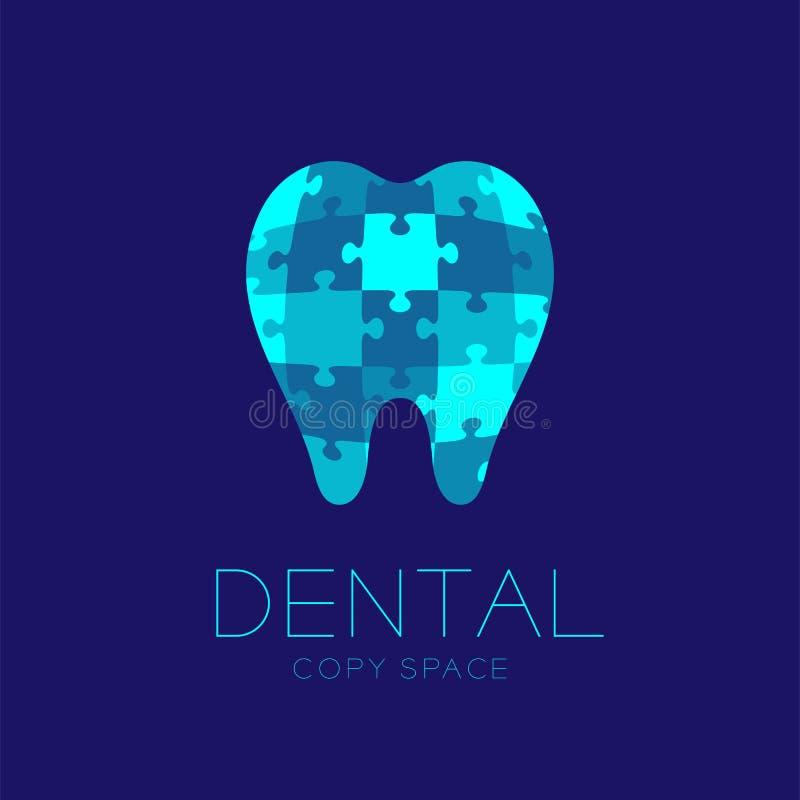 Stomatologiczna klinika loga ikony zębu wyrzynarki łamigłówki projekta ilustracja royalty ilustracja