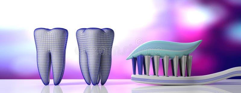 Stomatologiczna opieka Ząb pasta na toothbrush, zębów modelach i ochronnej osłonie, purpurowy biały tło, sztandar ilustracja 3 d royalty ilustracja