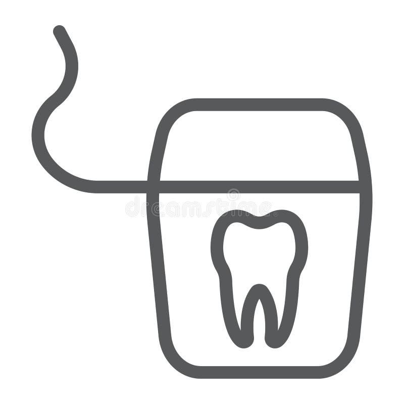 Stomatologicznego floss linii ikona, stomatology i stomatologiczny, royalty ilustracja