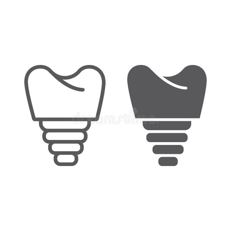 Stomatologicznego wszczepu linia, glif ikona, zęby i dentystyka, wszczepu zębu znak, wektorowe grafika, liniowy wzór na a ilustracji