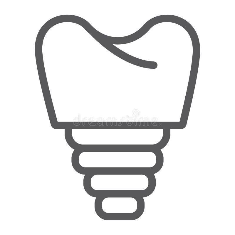 Stomatologicznego wszczepu linii ikona, zęby i dentystyka, wszczepu zębu znak, wektorowe grafika, liniowy wzór na bielu ilustracji