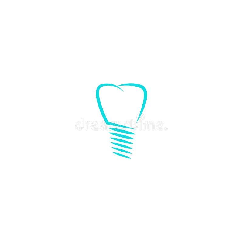 Stomatologicznego wszczepu logo, ząb sylwetki projekta dentysty liniowy logotyp, medyczna ikona royalty ilustracja