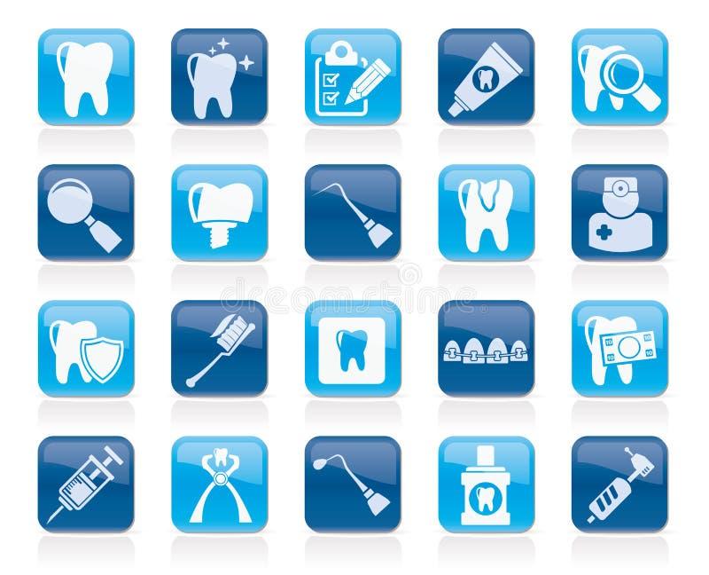 Stomatologicznej medycyny i narzędzi ikony royalty ilustracja