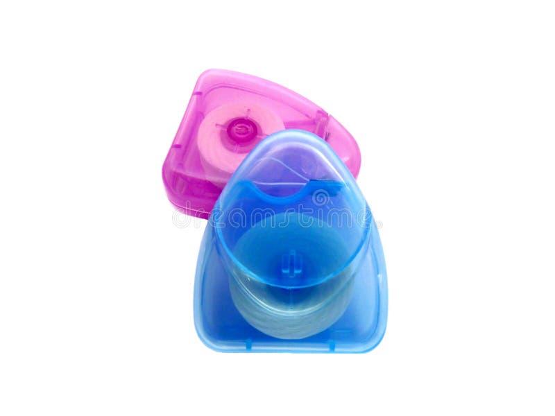 Stomatologiczny floss w plastikowym pudełku zdjęcia stock