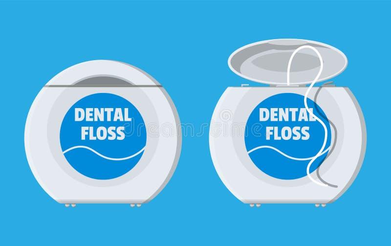 Stomatologiczny floss w pudełku Zbiornik nić dla zębu ilustracja wektor