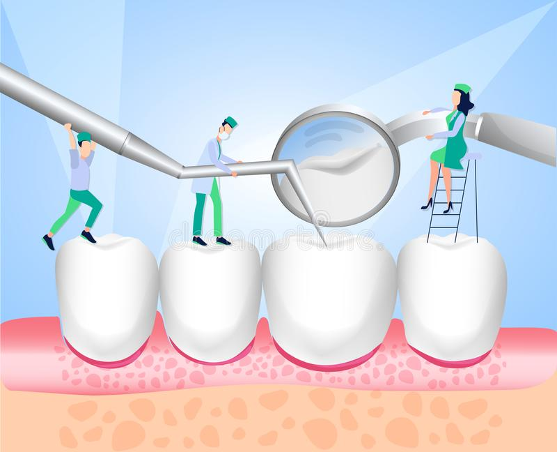 Stomatologiczny instrument Dentysta prowadzi stomatologicznego egzamin dentyści Kierunek dentystyka Biel emaliowi i zdrowi ludzcy ilustracji