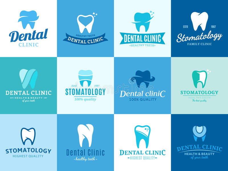 Stomatologiczny klinika logo, ikony i projektów elementy, ilustracja wektor