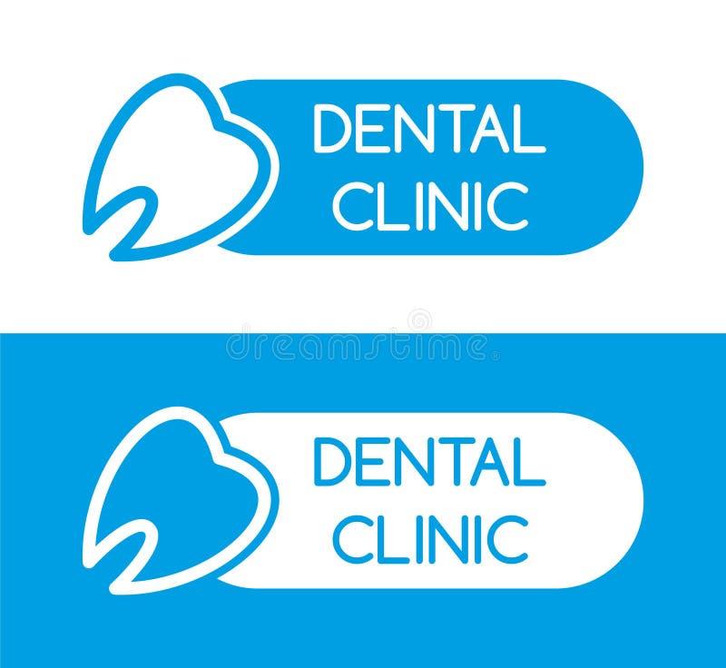 Stomatologiczny klinika logo wklęśnięcie wektor b??kitny logo ząb linia Dentysty symbol royalty ilustracja