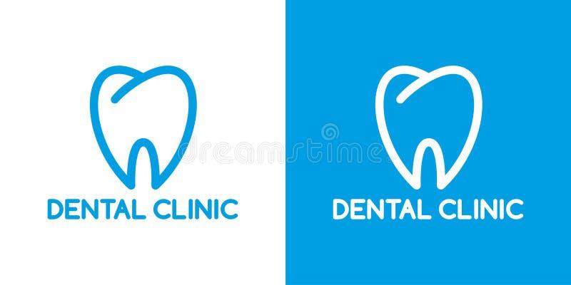 Stomatologiczny klinika logo wklęśnięcie wektor b??kitny logo ząb linia Dentysty symbol ilustracji