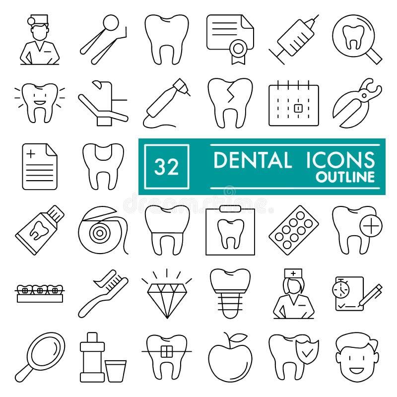 Stomatologiczny kreskowy ikona set, dentystyka symbole kolekcja, wektor kreśli, logo ilustracje, medycyna znaki liniowi ilustracja wektor