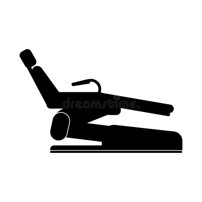 Stomatologiczny krzesło znak - czerni na białym tle ilustracji